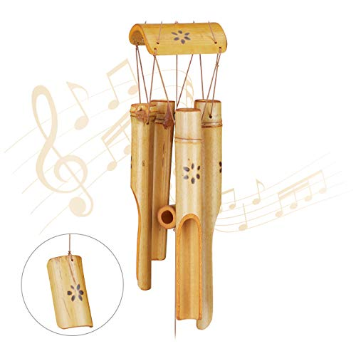 Relaxdays Windspiel Bambus, Holz Klangspiel, wetterfest, für Balkon, Garten, schöner Klang, Feng Shui Deko, 73 cm, Natur