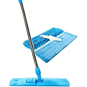 Professional Dust Mop with Enhanced Holding Mechanism & Stainless Steel Telescopic Handle - Floor Cleaner with 2 Microfiber Mop Pads & Brush Cleaner - For Wet or Dry Floor Cleaning