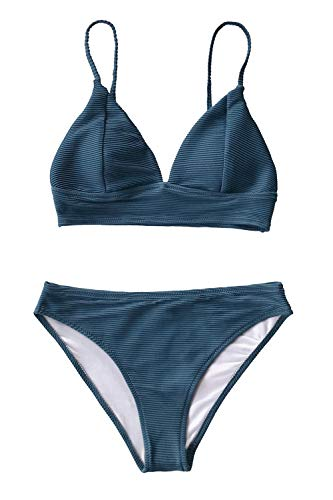 CUPSHE Women's Solid Color Sexy Triangle Bikini Set Padded Swimsuit, S Navy