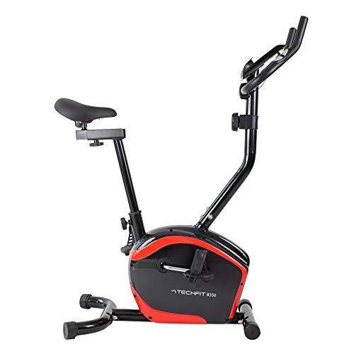 TechFit B350 - Bicicleta estática con volante de 6 kg, sistema magnético de 8 niveles y soporte para tablet para fitness y cardio en casa