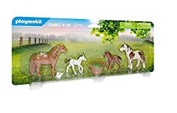 Fun for little animal lovers: Playmobil ponies with foal as well as accessories for everyday horses - for collecting and recreating your own adventures 2 ponies, 2 pony foals, 1 feed basket, perfect addition to 6927 pony yard or 70510 ponycamp overni...
