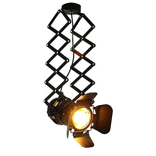 Retro led-plafondlamp van smeedijzer, industriële smeedijzeren wandlamp van metaal, zwart aluminium, uittrekbaar 360 graden.