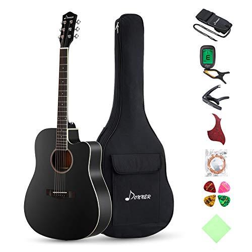 Donner Guitarra Acústica Dreadnought con Cutaway 41 Pulgadas Cuerpo de Pícea Madera con Set de Accesorios Color Negra DAG-1CB