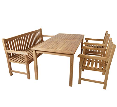 KMH®, Teak Gartensitzgruppe Classic mit 180 cm langem Tisch für 6 Personen (#102204)