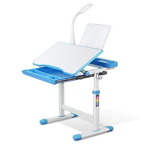 Homfa Kinderschreibtisch Schülerschreibtisch Kindertisch Schreibtisch höhenverstellbar, mit kippbarem Holztisch, antireflektierender Tisch, Buchständer, ausziehbare Schublade und Touch-LED Blau