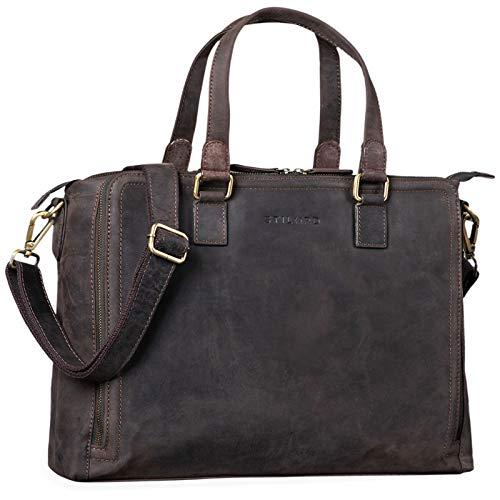 STILORD 'Claire' Businesstasche Damen Leder 15 Zoll Laptoptasche DIN A4 Aktentasche Umhängetasche und Handtasche Büro, Farbe:dunkel - braun