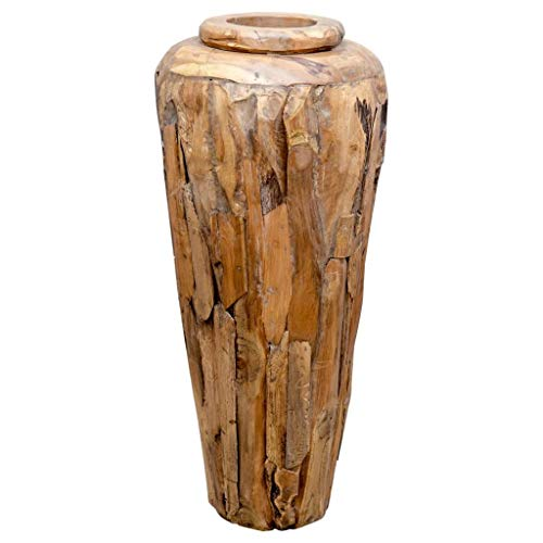 vidaXL Deko-Vase 40 x 80 cm Massivholz Teak