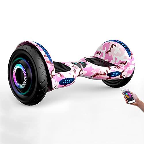 Hoverboards, Scooter Eléctrico Autoequilibrado, Monopatín De 10 con Altavoz Bluetooth, Ruedas Intermitentes, Luces Led, Regalo para Niños, Adolescentes Y Adultos