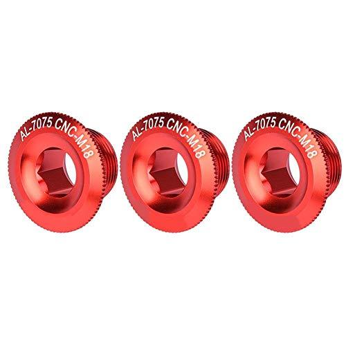 Alomejor 3 Stücke 18mm Bike Kurbelkappe Aluminiumlegierung Fahrrad Welle Achse Schraube Mutter Radfahren Kurbel Set Spur Radmuttern(rot)