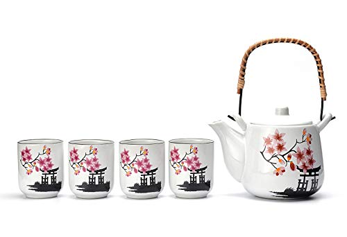 Mayjo Japanese Tea Service Set Pink Cherry Blossom Sakura Ceramic Tetsubin Teapot & 4 Teacups Tea Set With Stainless Steel Infuser & Rattan Handle Included in Gift Box