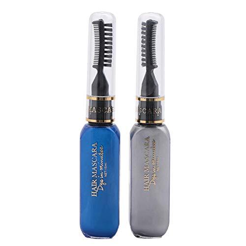 2-in-1-Einweg-zweifach verwendbare Haarfärbecreme Bunte Wimperntusche(04# Dunkelblau + Grau), 2 In 1 Einweg Haarfärbecreme Bunte Mascara Dual Purpose Haarfärbecreme 04#