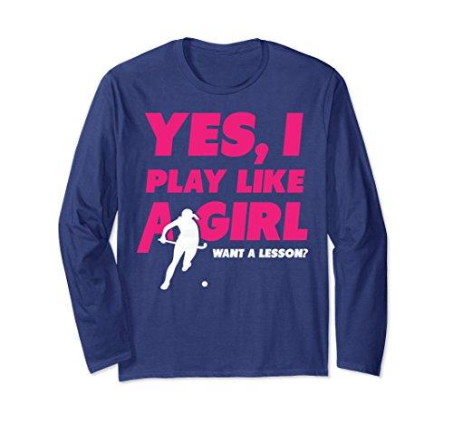 Unisex Ice Hockey fanatic Long Sleeve - Play Like A Girl Small Navy
