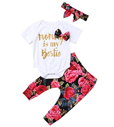 Mommy is My Bestie Outfit Newborn Baby Girl Fall Funny Romper Playsuit Top+ Rose Flower Harem Long Pants+Hairband (0-6months, White)