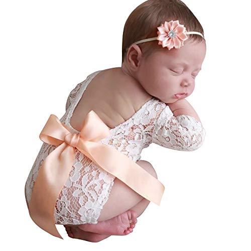 Tabpole Strampelanzug für Neugeborene, Spitze, Fotografie-Requisiten für Fotoshootings, Spitzen-Body und Blumen-Haarband Gr. 56, aprikose