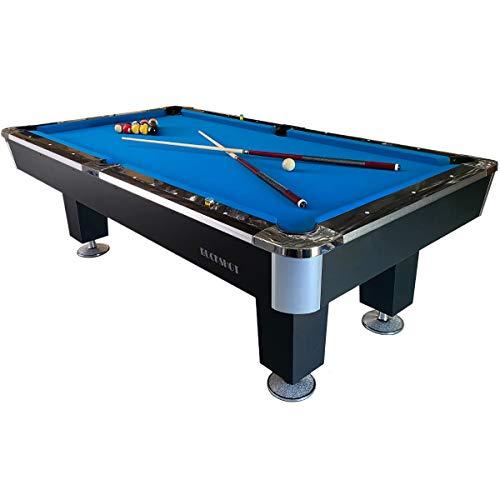 Buckshot Billardtisch 7ft Lemans 4 Leg (Blau/Schwarz) Pool mit Schieferplatte inklusive Zubehör - (213x121 cm)