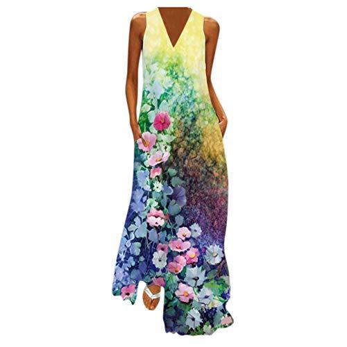 PANGF Vestido de mujer con cuello en V, sin mangas, estampado bohemio, maxi de fiesta, con bolsillos, vestido largo de manga larga, vestido de cóctel, fiesta, floral, vestido de ocio. Verde B L