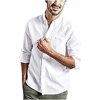 CAOQAO- Camisa de los Hombres de Moda Botón de Verano Casual algodón Blusa de Manga Larga (XS, Blanco)