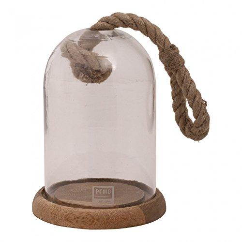 Cloche en verre décorative avec corde vintage et assiette en bois Montana Glass Round Bell Jar on Wood - Dimensions : 26 x 19 x 19 cm