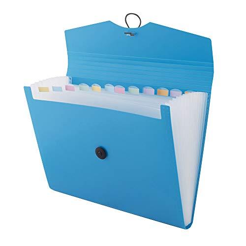 D.RECT 5580 Fächermappe Ordnungsmappe erweiterbar Dokumentenmappen 12 Fächer A4 Blau