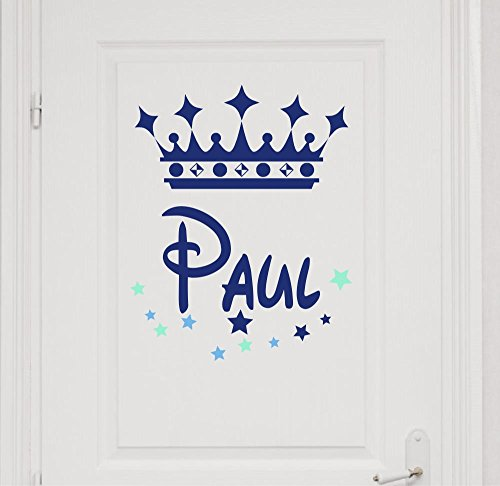 Türaufkleber mit Wunschnamen 73038-29cm-tricolore-blau, mit bunten Sternen und Krone fürs Jungenzimmer, Kinderzimmer Jungen, Kinderaufkleber, Wandaufkleber Wandtatoos Sticker Aufkleber Namensaufkleber