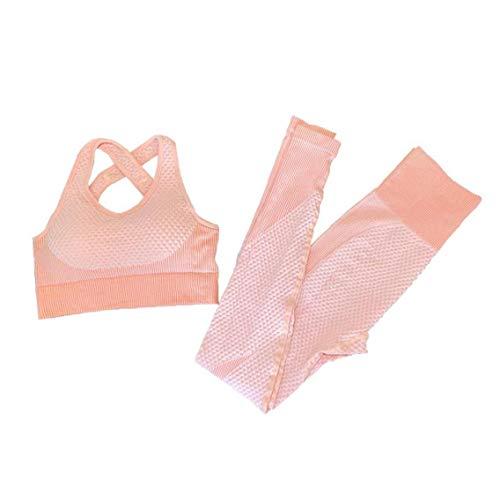 Mujeres Traje Yoga Deporte Pantalones Sujetador De Trajes De Entrenamiento De Mujer S 2 Piezas Rosa