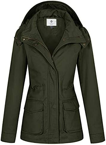 WenVen Women s Cotton Casual Military Coat Hoodie Anorak Jacket Army Green S product image