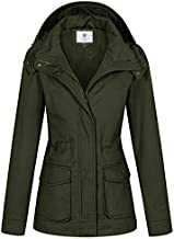 WenVen Women's Cotton Casual Military Coat Hoodie Anorak Jacket Army Green XL