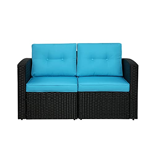 Outdoor Wicker Loveseat, 2 Piece Patio Furniture Loveseat, with Removable Cushions Sectional Corner Sofa Outdoor Loveseat Sofa for Garden Deck Porch, Aluminum Frame,Black/Blue