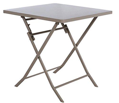 PEGANE Table de Jardin carrée Coloris Taupe Clair, de 2 Places - Dim : L 70 x P 70 x H 71cm