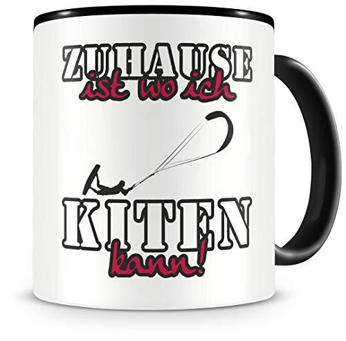 Samunshi Taza de café con texto en alemán 'Zuhause ist Kiten', regalo para fans de Kiten, taza de café grande divertida para cumpleaños, color negro, 300 ml