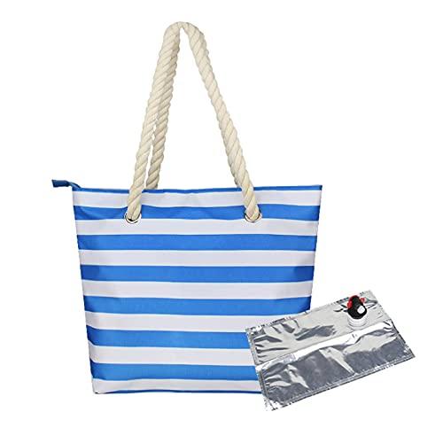 KJFSTJHMM Bolsa de vino de playa, bolsa de playa con compartimento aislado oculto, capacidad para 2 botellas de vino, bolso de playa informal para regalos