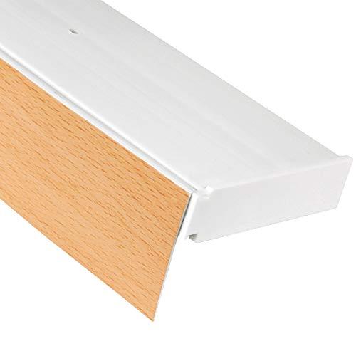 Bestlivings 3-Läufige Vorhangschiene mit Innenlauf aus Kunststoff in 90cm, Kunststoff Blende BUCHE Optik, Gardinenschiene