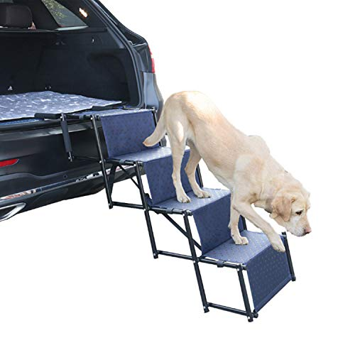Heeyoo Upgraded Nonslip Car Dog Steps, Portable Metal Fram Large Dog Stairs for High Beds, Trucks,...
