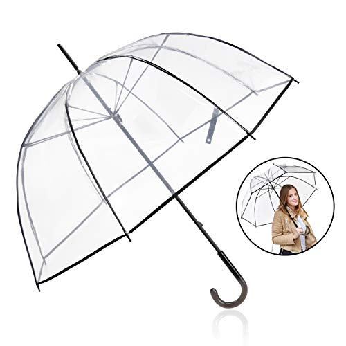 Rainbrace Clear Bubble Umbrella,Clear Umbrella for Wedding Windproof, Bulk Large Transparent Rain Umbrella Clear Dome Umbrella with Color Trim for Women and Kids