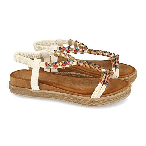 56248-Flache Sandale fur Frauen, mit bunten Ornamenten auf der Schaufel, Verschluss der Einstellung am Talon Spring Summer 2021. Size 38 Blanco