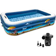 """Inflatable Swimming Pools for Family, FUNAVO 100"""" X 71"""" X 22"""" Full-Sized Inflatable Kiddie Pools, Lounge Pool for Baby Toddlers Kids Adults, Outdoor Backyard Blow Up Pool, Electric Pump Included"""