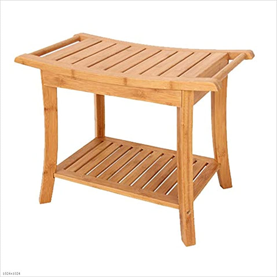 概してパキスタン味わう浴室スツールシャワースツール木製ベンチ家の高齢者の妊娠中の女性の風呂の椅子の変更の靴のベンチ収納スツール (Color : BROWN, Size : 33CM*60CM*46CM)