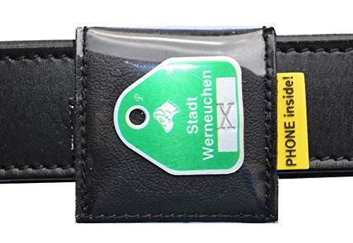 josi.li Halsbandtasche Geschirrtasche für Hundemarken bis 43mm, hochwertiges wasserfestes Kunstleder in 15 Farben, Extras (schwarz)