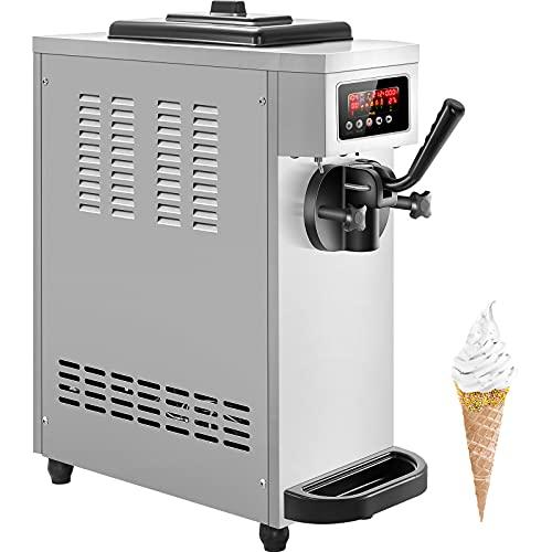 VEVOR Commercial Ice Cream Machine, 4.7-5.3Gal/H Soft Serve Machine, Single Flavor Ice Cream Maker, 1500W Countertop Soft Serve Ice Cream Machine with 1.6Gal Tank, LCD Panel, 6 Magic Heads