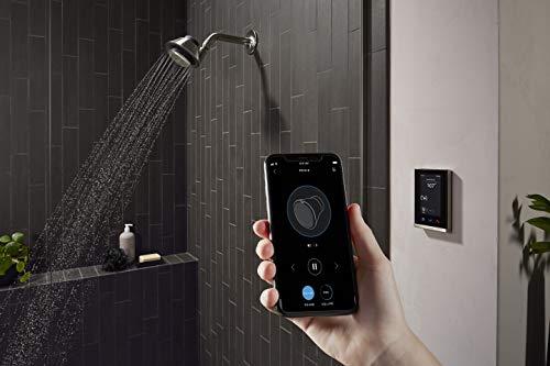 KOHLER Moxie Alexa Enabled Showerhead, Bluetooth Shower Speaker, Shower Radio, Rechargeable Speaker, Portable Speaker, 2.5 GPM, K-28238-NKA-BL, Matte Black