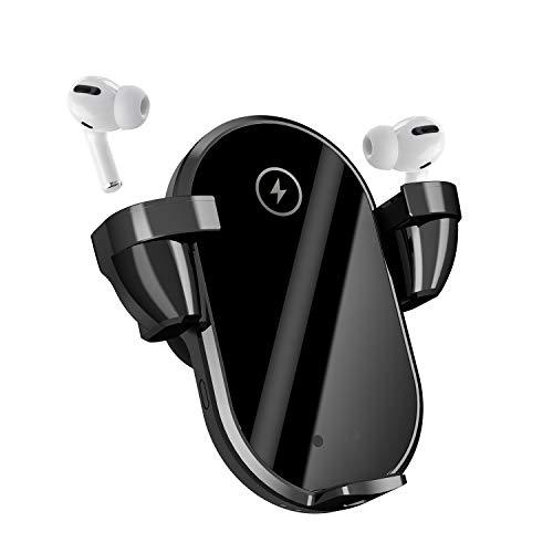 【2020 Upgrade】 Kabelloses Auto-Ladegerät 3-in-1 10 W Auto-Klemmung Qi Schnelllade-Autohalterung Ladegerät Lüftung Telefonhalterung für alle Smartphones und Original TWS Kopfhörer (ohne Kopfhörer).