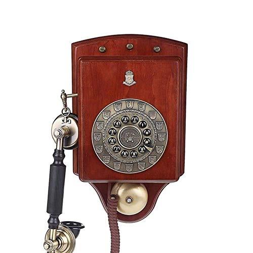 Teléfono fijo antiguo de madera montado en la pared, teléfonos antiguos Teléfono fijo giratorio antiguo de estilo europeo creativo Teléfonos con timbre de metal clásico Teléfono para el hogar Cocina