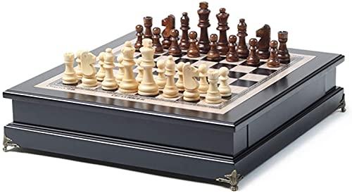 Conjunto de ajedrez juego de ajedrez de madera Juego de juegos de madera con piezas de madera, conjunto de ajedrez con almacenamiento portátil de almacenamiento de vestimenta de ajedrez juego de ajedr