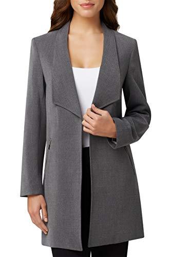 Tahari ASL Women's Winged Lapel Open Zipper Pocket Topper Jacket, Heather Grey, 4