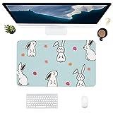 HUBNYO RabbitLeather - Alfombrilla de escritorio para oficina, superficie lisa, fácil de limpiar, resistente al agua, protector de escritorio para oficina, juegos en casa