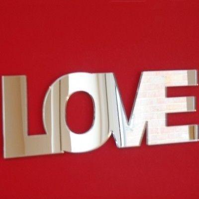 ServeWell Love Specchio da Parete Contemporaneo, plastica, 45 x 16 cm