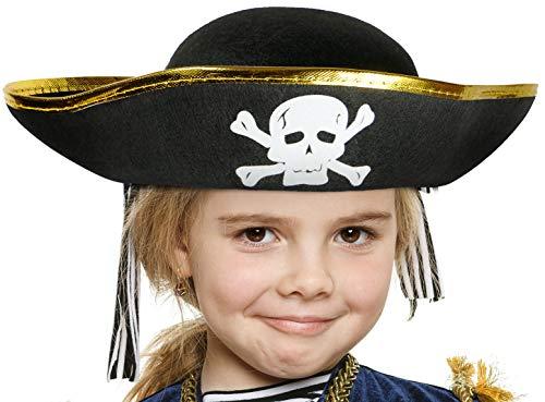 Balinco Piratenhut schwarz mit g...
