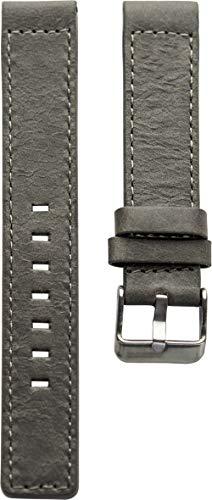 Oozoo Armband Uhrenband Uhrenarmband Leder Lederband mit Dornschließe Grau - 22 mm