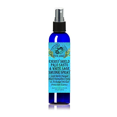 Energy Shield Palo Santo & White Sage Smudge Spray (4 oz.) with with Reiki Charged Black Tourmaline Crystal & Archangel Michael Protection Essence, Shields against EMFs, Psychic Attacks, Night Terrors