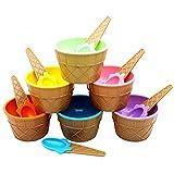 JUNSHUO Lot de 6 Crème Glacée Bol Rond en Plastique avec Cuillère à Glace, Lovely Bol De Glacée pour Enfants, Cadeaux Coupes à Glace Dessert